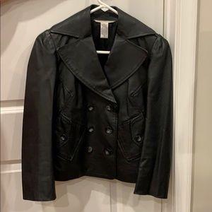 Women black leather jacket. Size 4